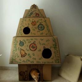 택배상자로 만든 고양이를 위한 크리스마스 트리